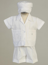 Boys White Cotton Pintuck Christening Shirt and Shorts Outfit