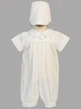 Boys White Christening Cotton Romper Outfit