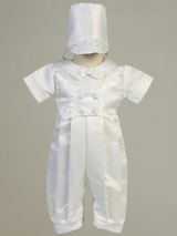 Boys White Satin Romper Christening Outfit