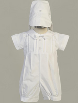 Boys White Poly Cotton Romper with Pleats Christening Outfit
