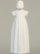 Boys and Girls White Cotton Weaved Christening Gown, Unisex