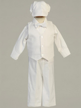 Boys White Cotton Weaved Vest and Pants Christening Outfit
