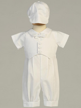 Boys White Cotton Romper with Pique Vest Christening Outfit (Tyler)