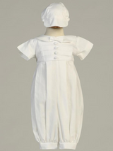 Boys White Long Poly-Cotton Romper Christening Outfit (Gabriel)
