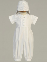 Boys White Long Cotton Romper Christening Outfit (Garvin)