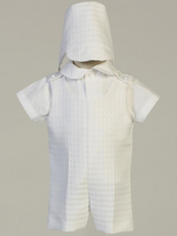 Boys White Poly-Plaid Romper Christening Outfit (Cole)