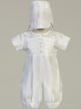 Boys White Shantung Romper Christening Outfit (William)