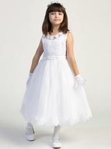 Girls White Sleeveless Embroidered Tulle Communion Dress