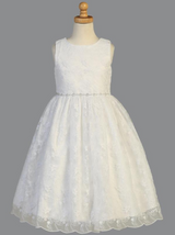 Product - Girls White Embroidered Tulle Communion Dress with Rhinestones (SP993)