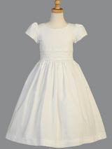 Girls White Cotton Smocked Communion Dress (SP108)