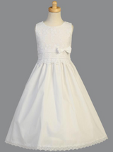 Girls White Embroidered Cotton Communion Dress with Satin Ribbon Accent (SP105)