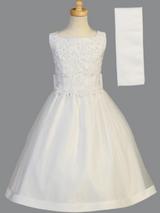 Girls White Beaded Satin Communion Dress (SP917)