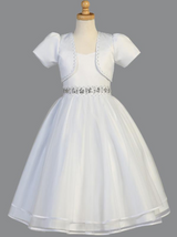 Girls White Satin Communion Dress with Beadwork (SP998)