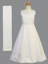 Girls White Beaded Satin Communion Tea LengthDress (SP613)
