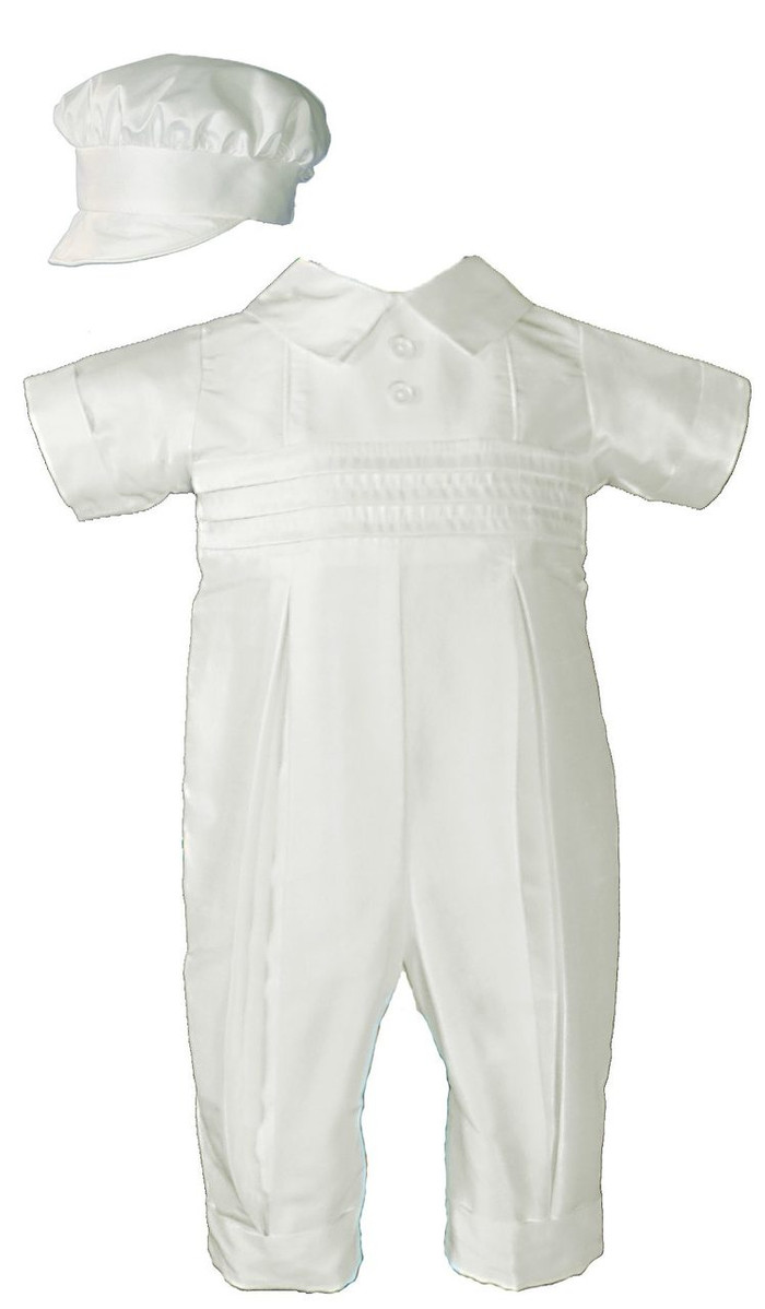 Classic silk dupioni (slightly off white) coverall with pin tucking and pleated legs. Includes matching bonnet style hat.