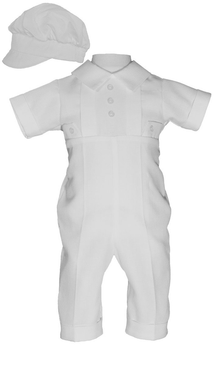 Classic boys christening outfit made of elegant waffle pique poly cotton fabric.