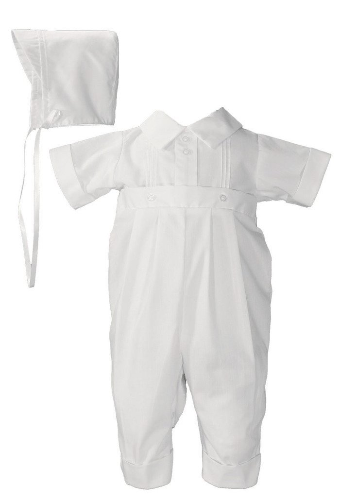 Handsome short sleeve one piece boys christening coverall with pin tucking and button ornamented waistband.