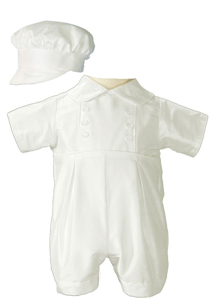 Boyish silk dupioni (slightly off white) christening romper. Includes matching bonnet style hat.