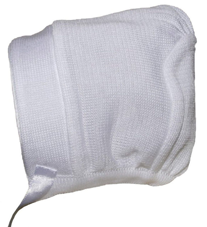 Boys white cotton knit hat or bonnet.
