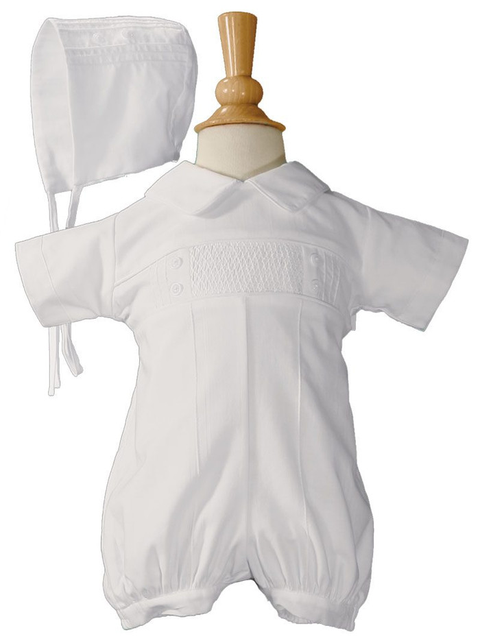 Pintucked boys christening romper with hand smocked center front panel.
