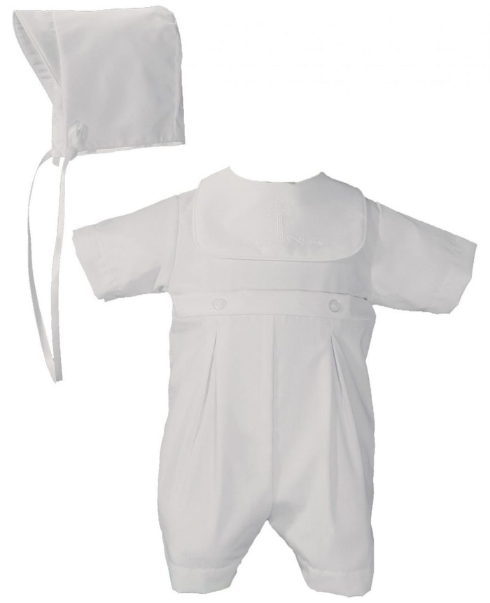Boys White Polycotton Christening Baptism Romper with Screened Cross