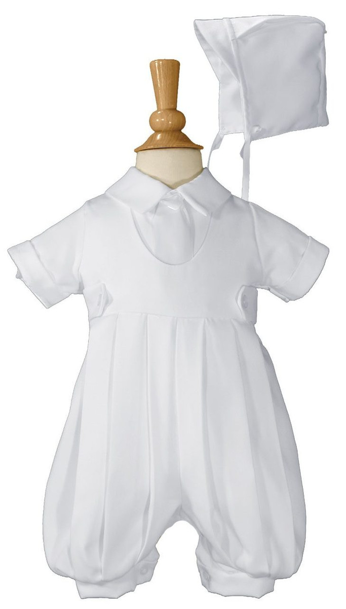 Boys White Gabardine Christening Baptism Knicker Set