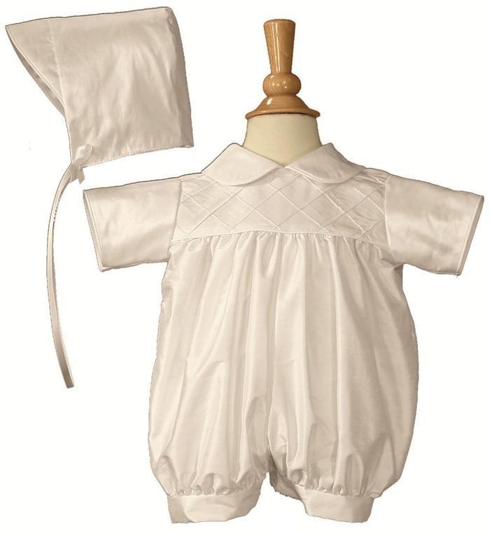 Boys White Smocked Silk Christening Baptism Romper