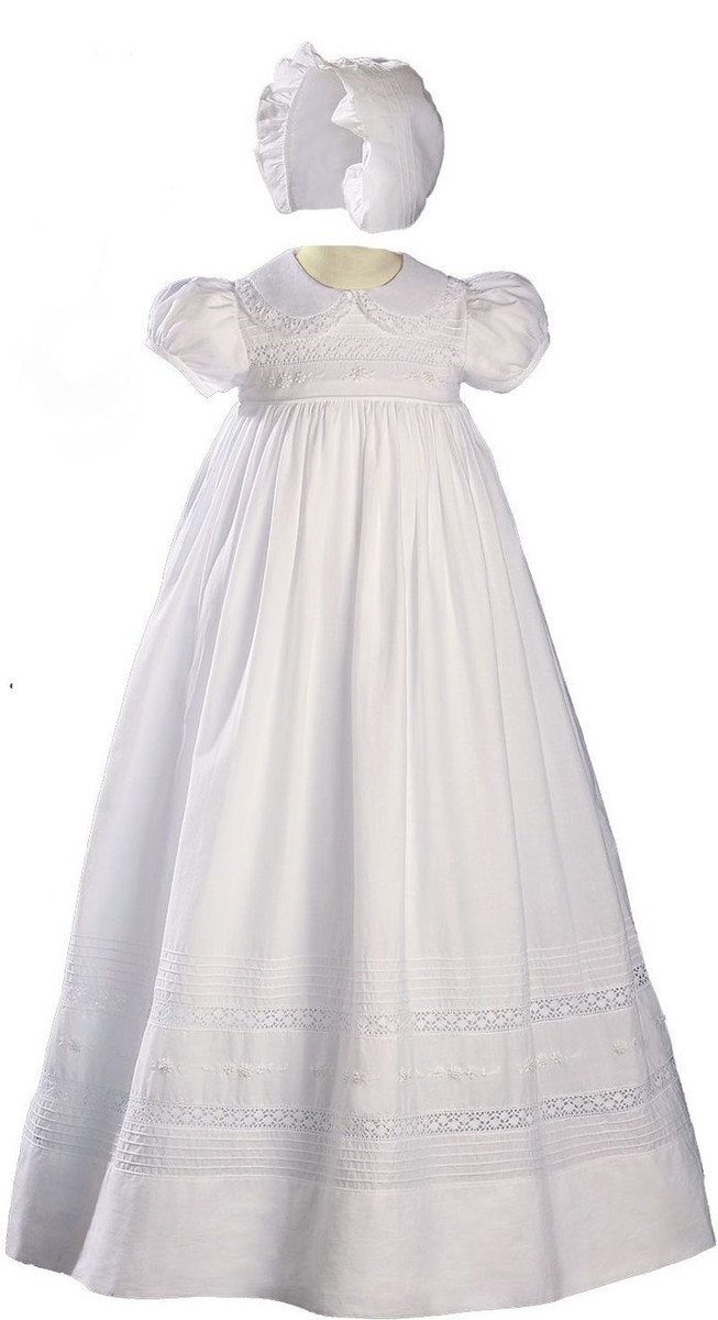 Girls 33″ White Cotton Short Sleeve Christening Baptism Gown with Hand Embroidery
