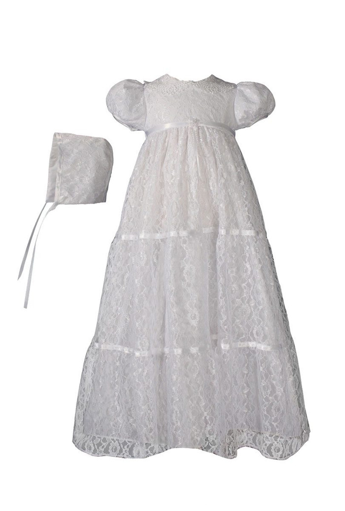 Layered All Over Lace Christening Special Occasion Gown, Girls 29″