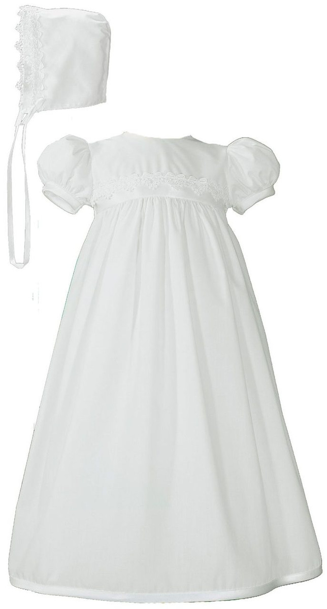 Girls White Christening Baptism Gown with Lace Trim and Bonnet, Polycotton