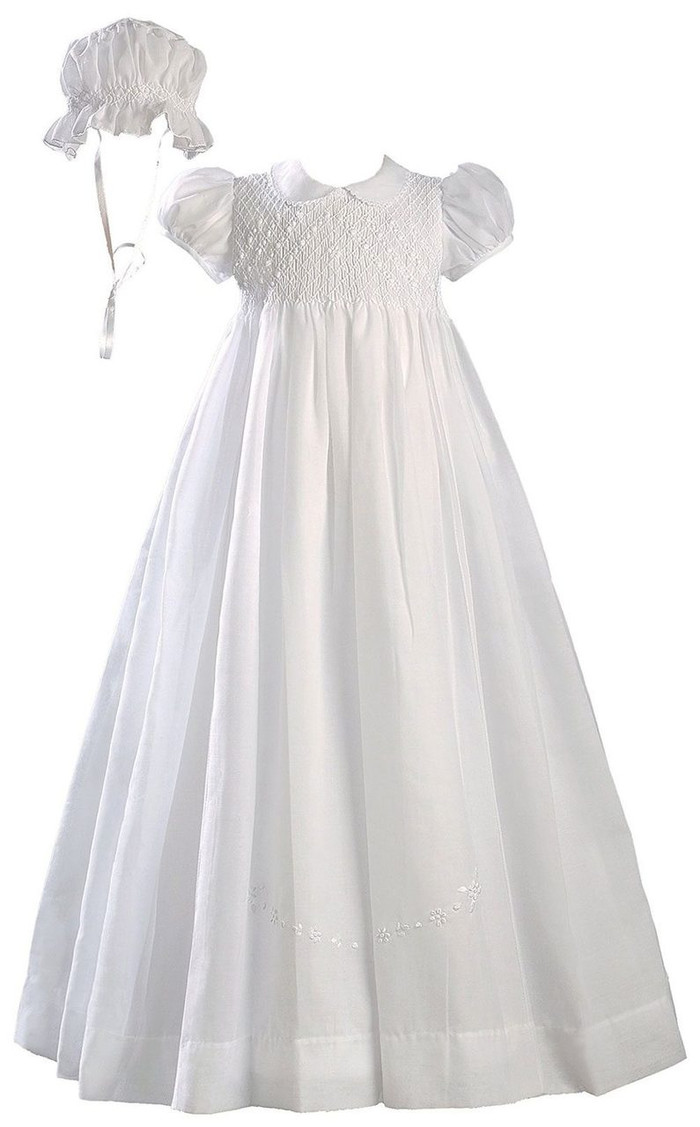 Hand Smocked Polycotton Batiste Christening Baptism Gown