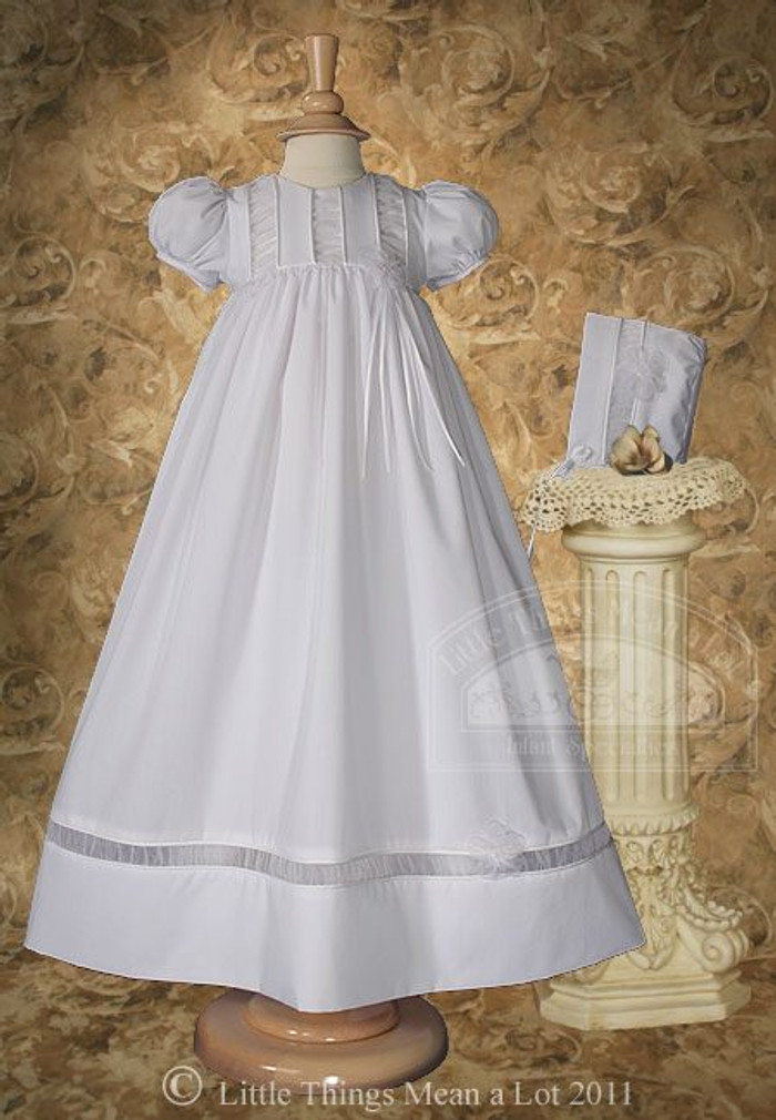 Girls Christening Gown with Organza Ruching Accents and Bonnet, 30″ Poly Cotton