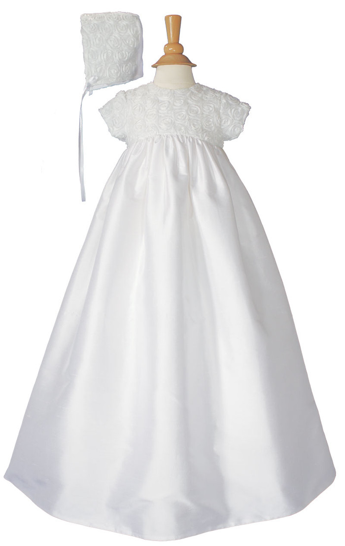 Girls 32″ Cotton Sateen Christening Gown with Rosette Covered Bodice