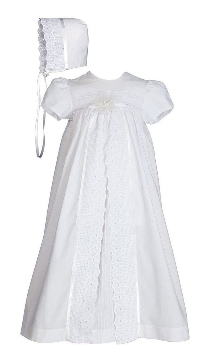 Girls 25″ Split Panel Cotton Dress Christening Gown Baptism Gown