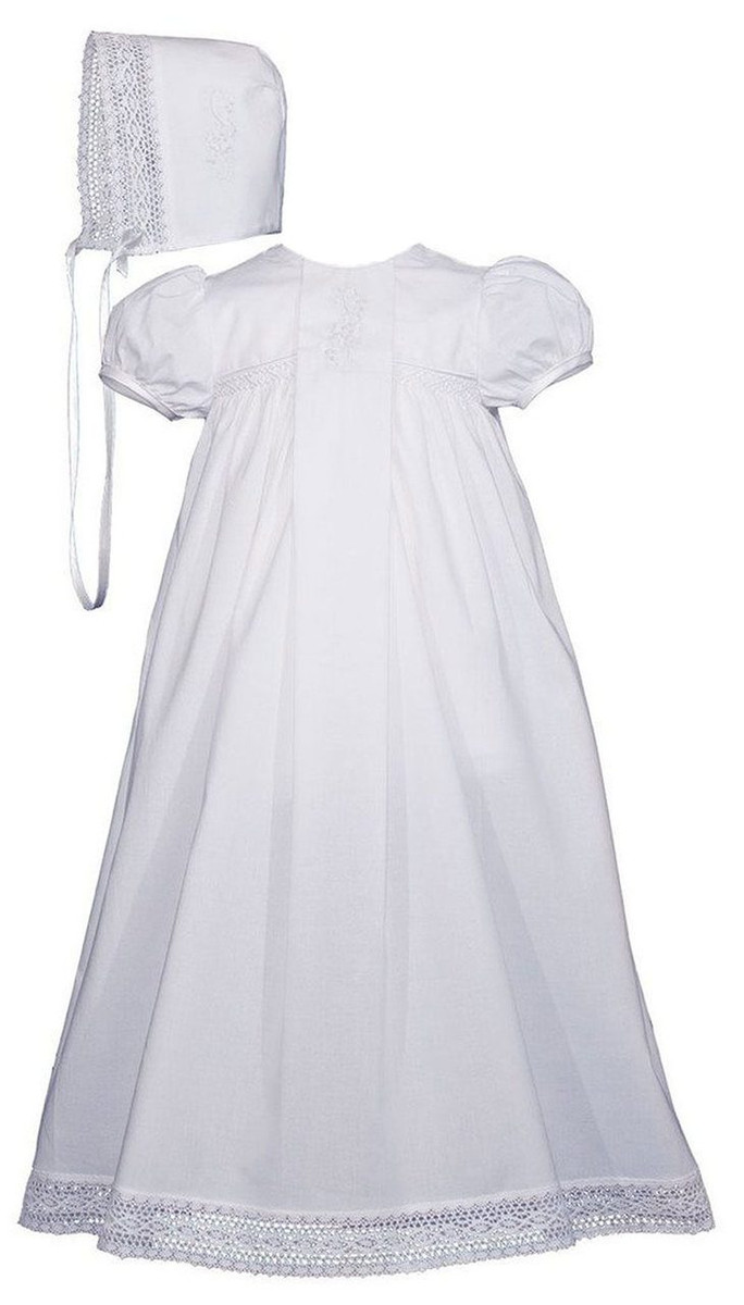 Victorian Style Christening Baptism Gown, Girls Cotton 25″