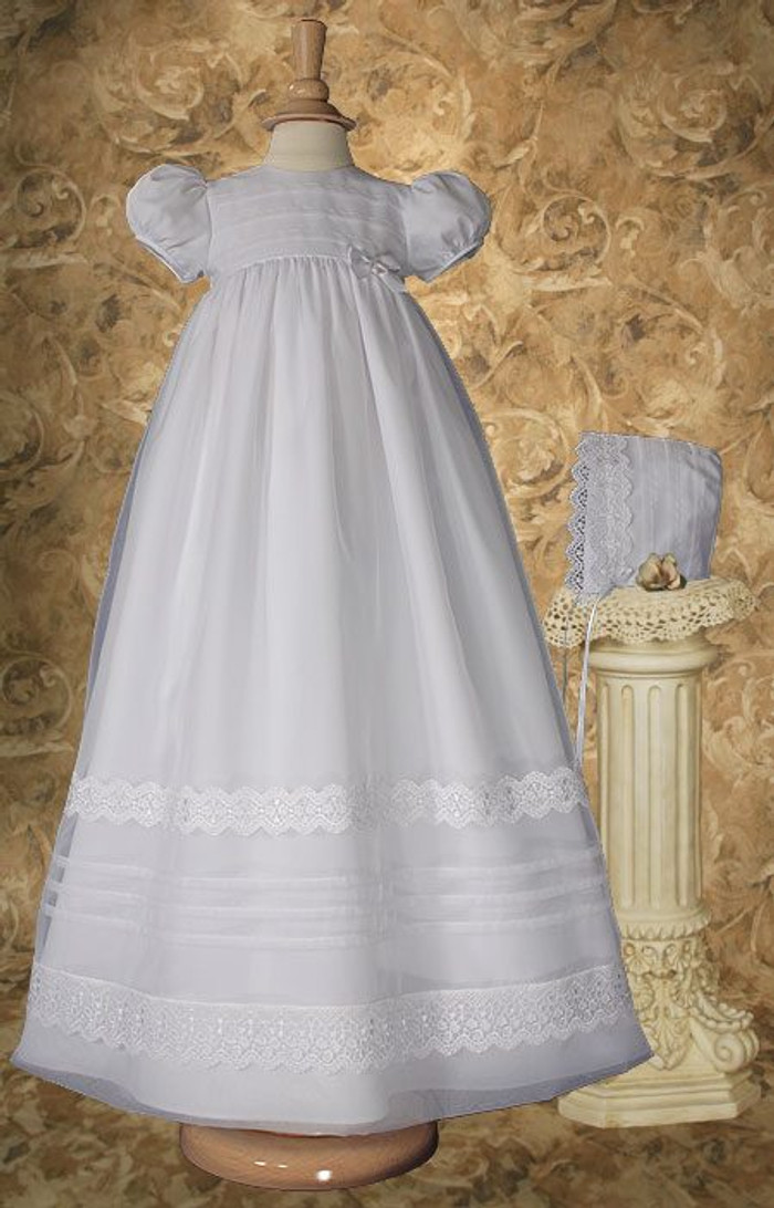 Organza Christening Gown with French Lace and Pin Tucking, Girls 34″ Poly Cotton
