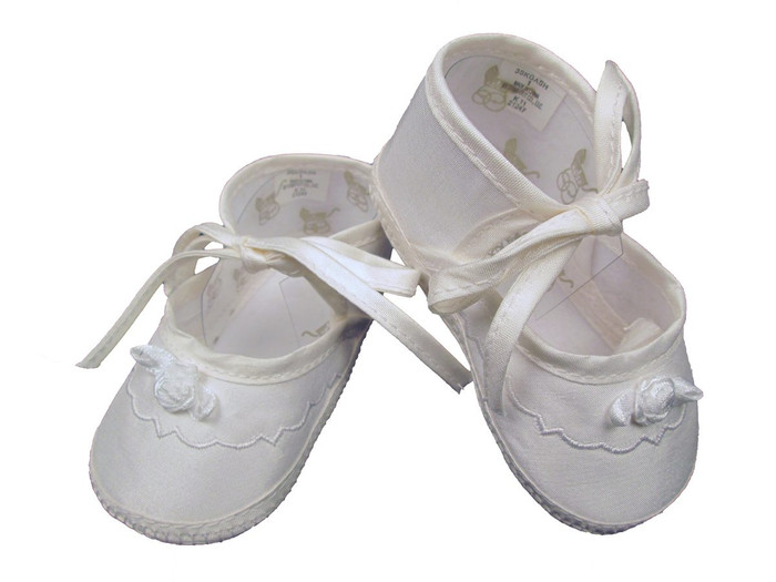 Girl's Silk Dupioni Shoes with Ribbon Rosette