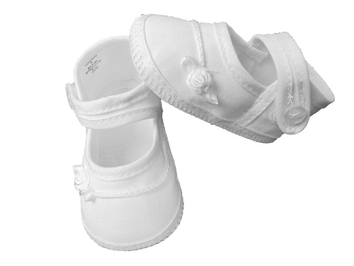 Girls Cotton Shoe with Embroidered Rosebud