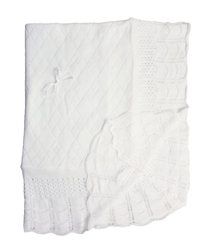 White Knit Shawl with Diamond Pattern and Ribbon Bow