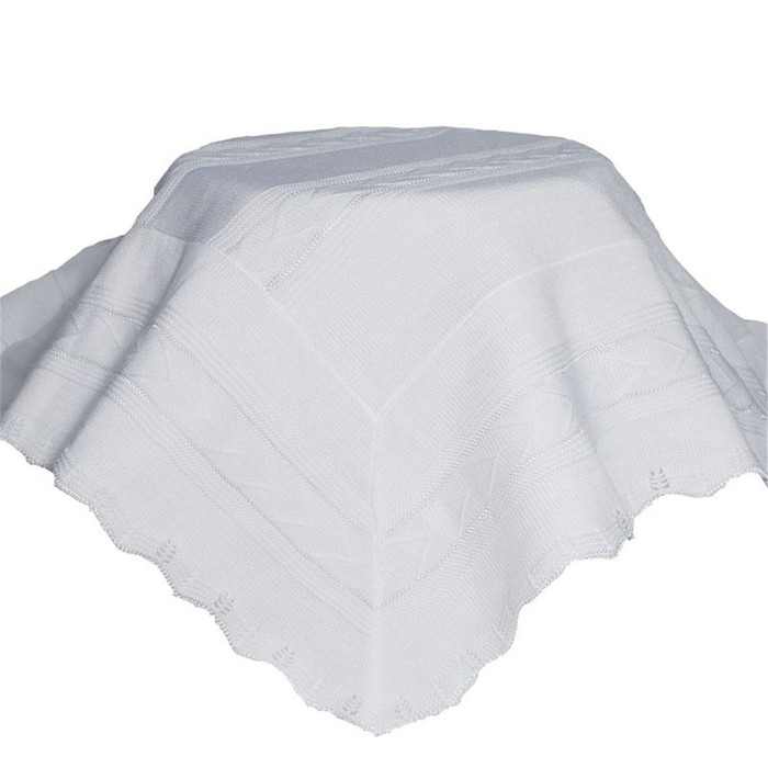 White Knit Baby Baptism Shawl