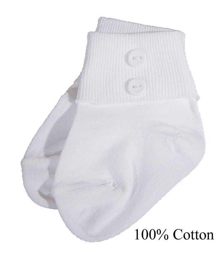 Boys White Anklet Socks with Buttons
