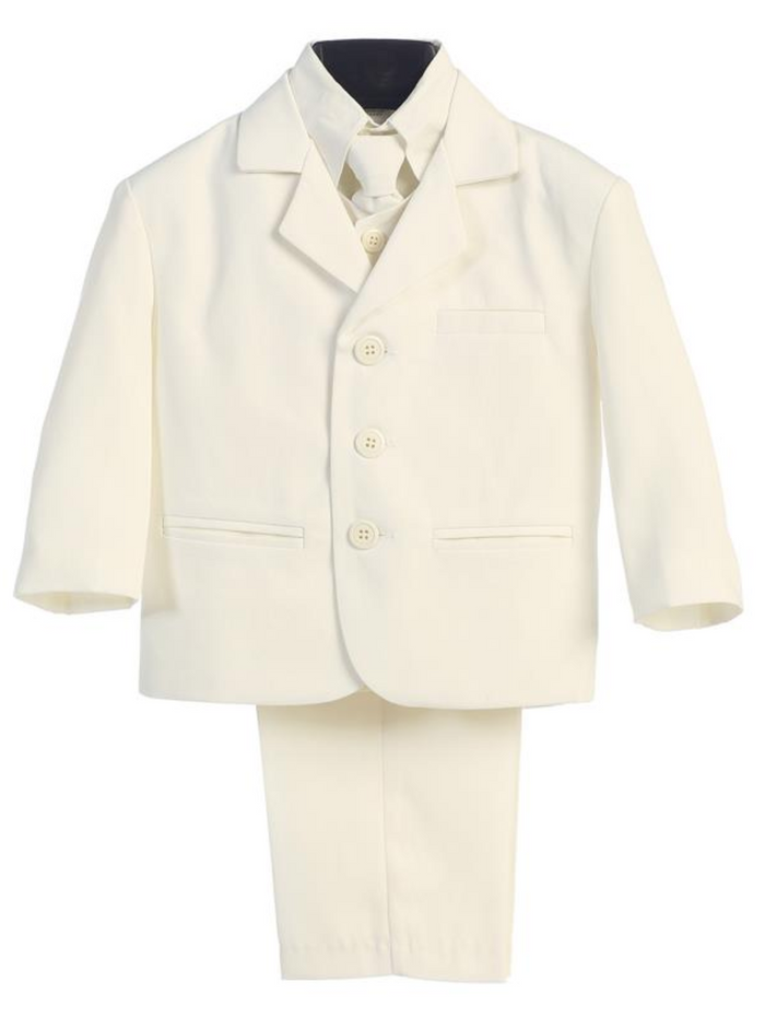 Boy's 5 Piece Suit - 3 Buttoned Ivory Jacket and Pants