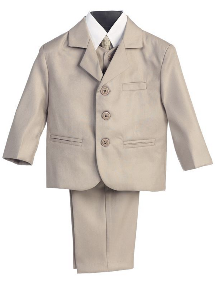 Boy's 5 Piece Suit - 3 Buttoned Khaki Jacket and Pants