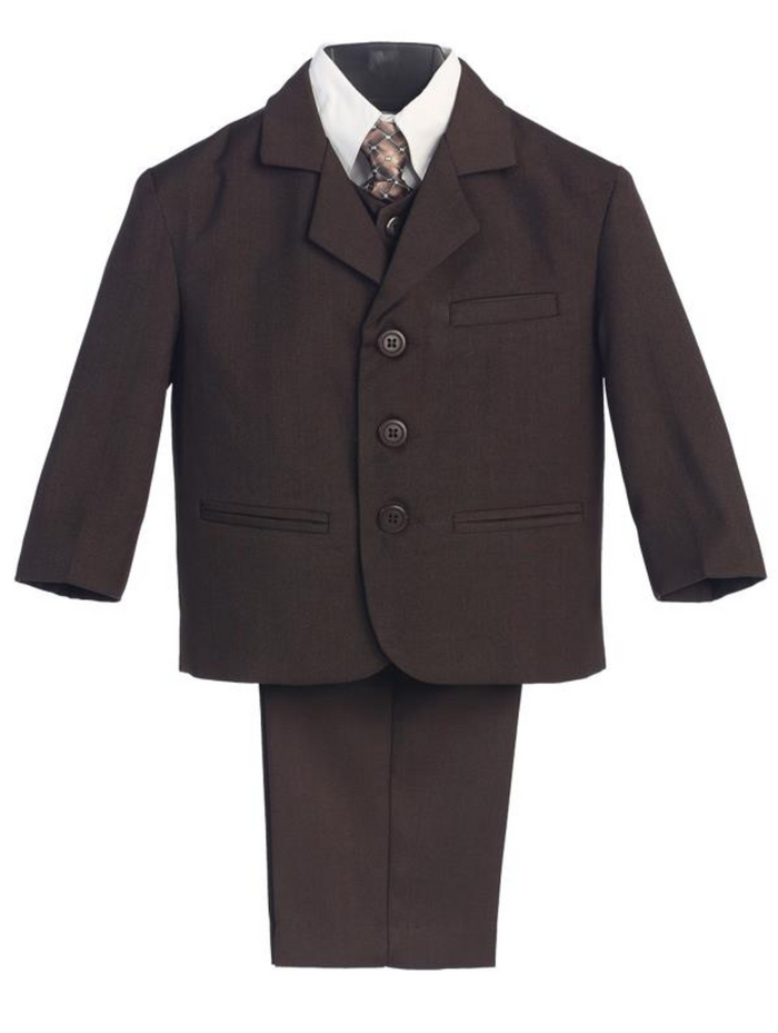 Boy's 5 Piece Suit - 3 Buttoned Brown Jacket and Pants