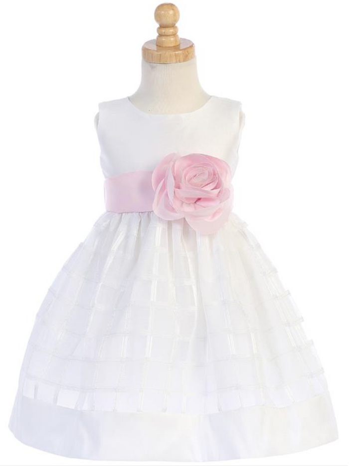 Girls White Poly Silk and Organza Plaid Flower Dress