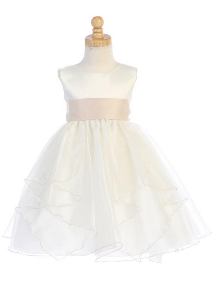Girls White or Ivory Satin and Crystal Organza Dress with Sash and Bow