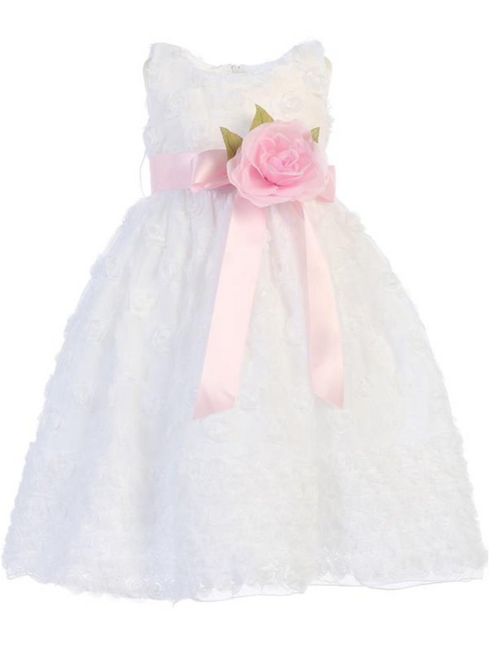 Girls White or Ivory Embroidered Tulle Dress with Flower Sash