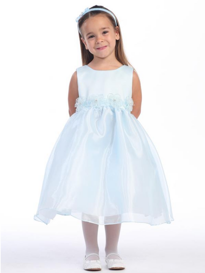 Girls Satin and Organza Flower Dress
