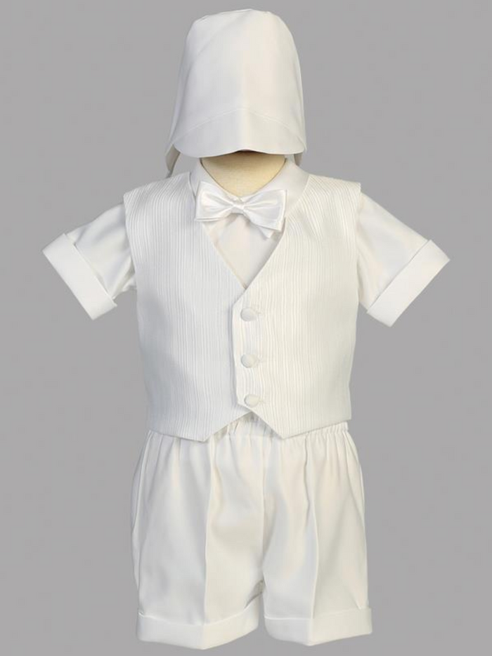 Boys Christening Satin Vest Shorts Outfit