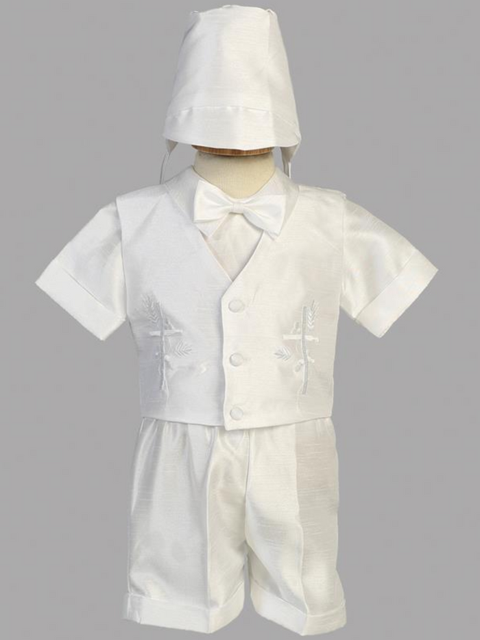 Boys Christening Embroidered Shantung Outfit